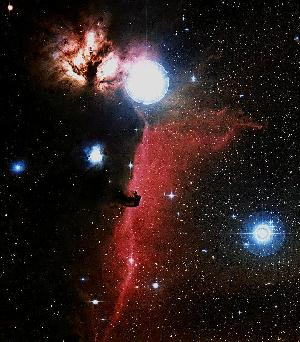 Color image of Flame and Horsehead nebula