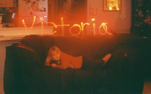 "Victoria with name in ""light"""